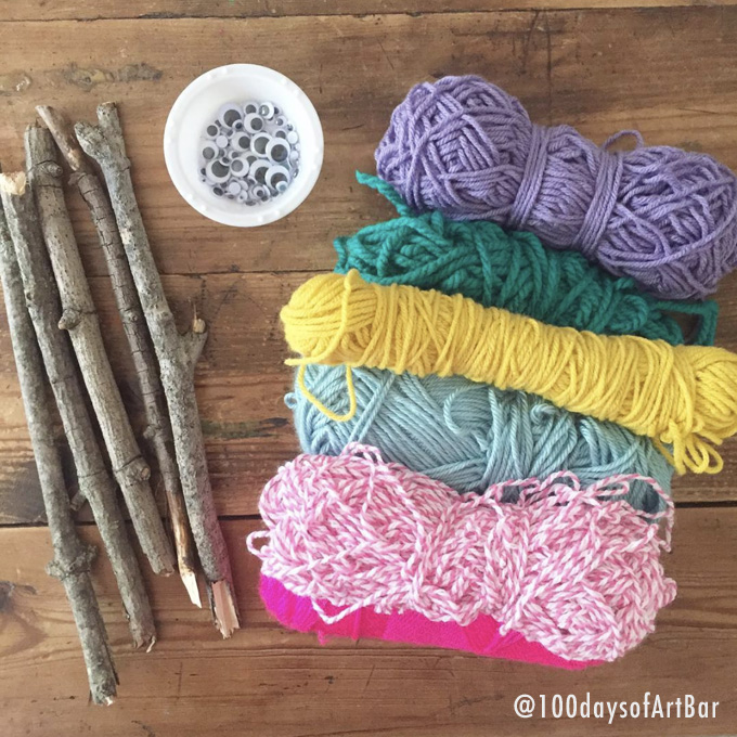 Art Prompt: Yarn Wrapping. From @100daysofArtBar Instagram account and included in an Advent Calendar Printable.