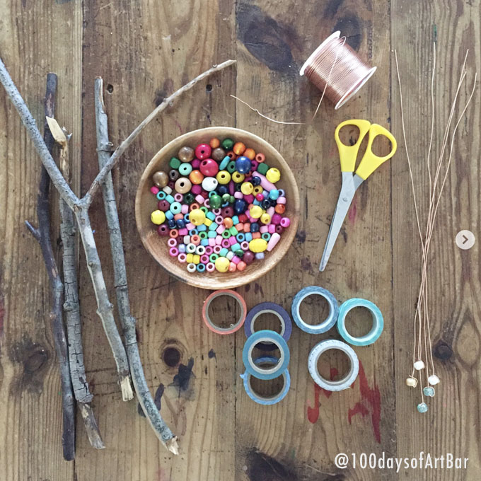 Art Prompt: Twigs, Wire & Beads. From @100daysofArtBar Instagram account and included in an Advent Calendar Printable.