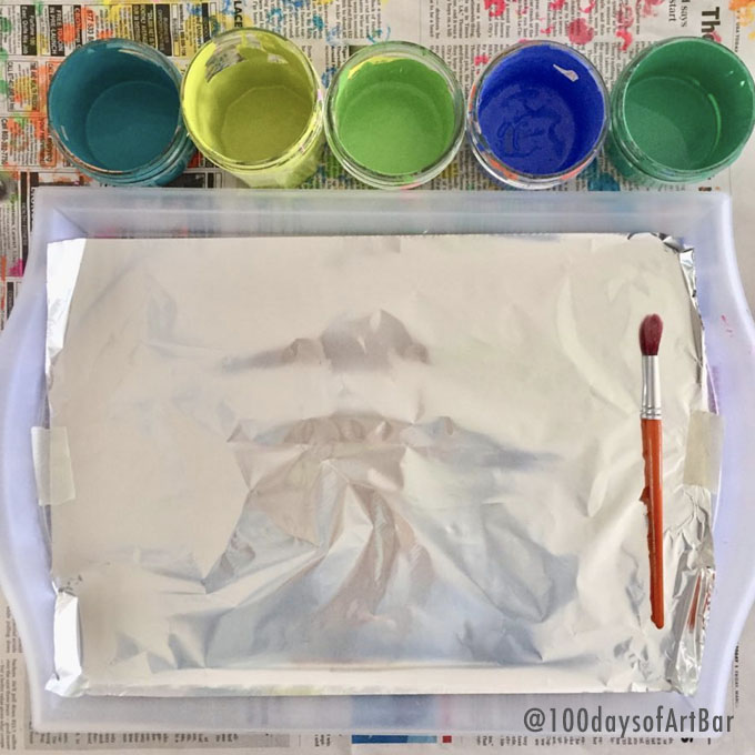 Art Prompt: Tinfoil Painting. From @100daysofArtBar Instagram account and included in an Advent Calendar Printable.