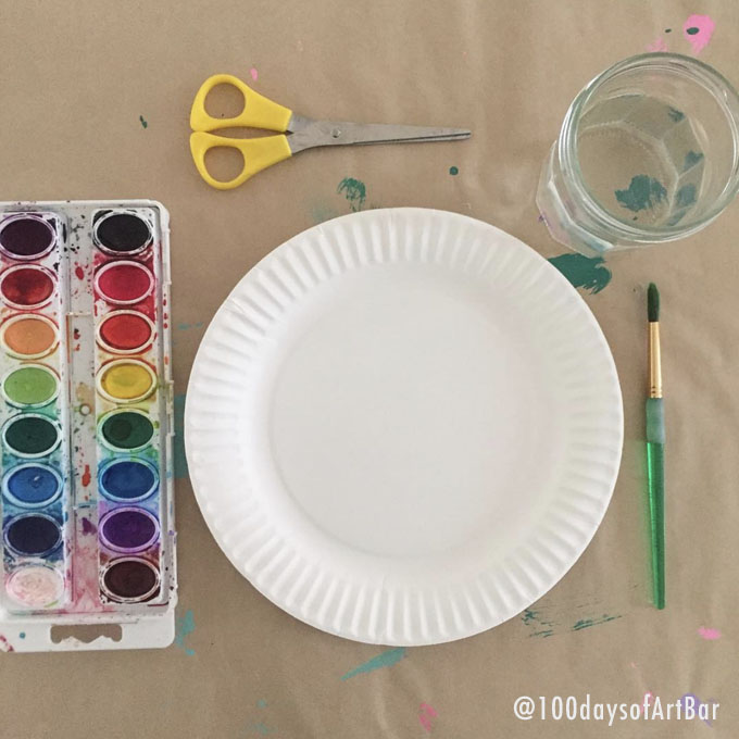 Art Prompt: Paper Plate Painting. From @100daysofArtBar Instagram account and included in an Advent Calendar Printable.