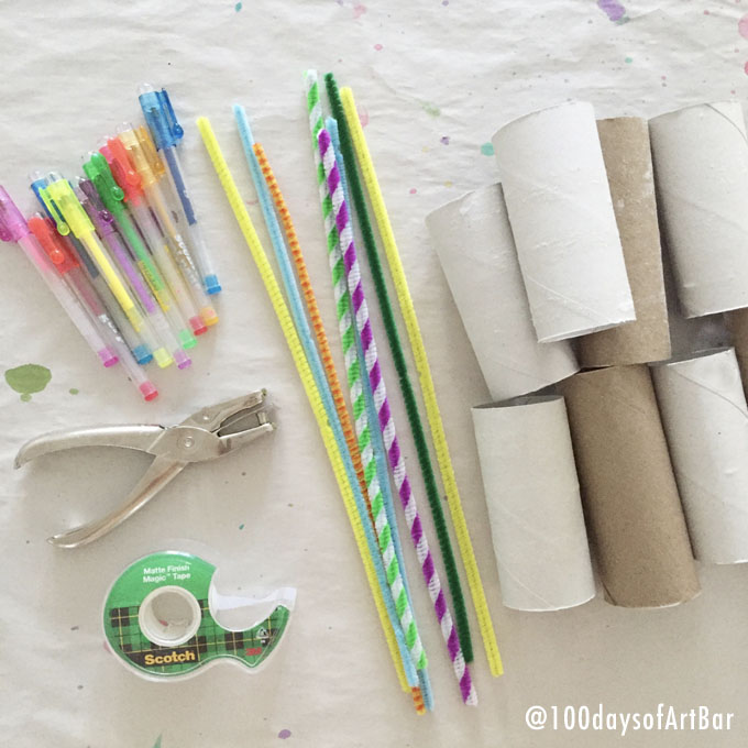 Art Prompt: TP Roll Creations. From @100daysofArtBar Instagram account and included in an Advent Calendar Printable.