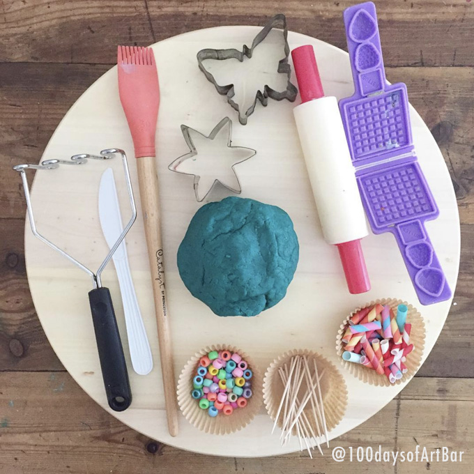 Art Prompt: Play Dough Fun. From @100daysofArtBar Instagram account and included in an Advent Calendar Printable.
