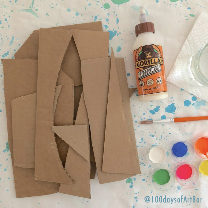 Art Prompt: Cardboard Sculpture. From @100daysofArtBar Instagram account and included in an Advent Calendar Printable.