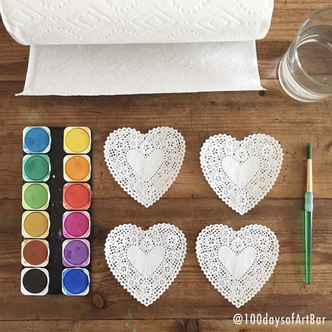 Art Prompt: Doily Painting. From @100daysofArtBar Instagram account and included in an Advent Calendar Printable.