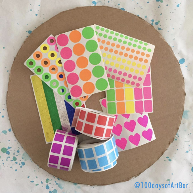 Art Prompt: Sticker Mandala. From @100daysofArtBar Instagram account and included in an Advent Calendar Printable.