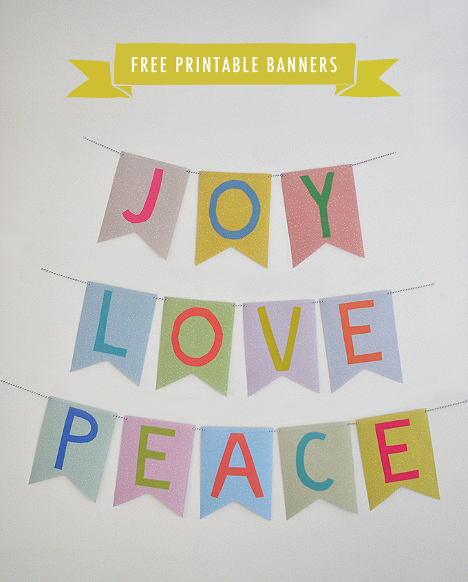 Joy, Love, and Peace printable bunting for the holidays and every day.