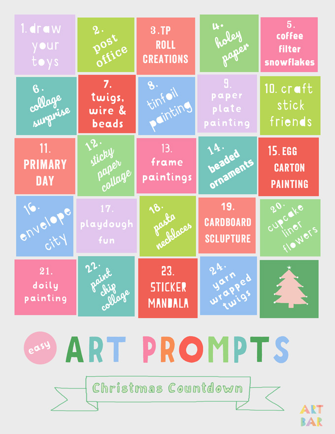 Printable Art Prompts Advent Calendar. You can also use it for any month in the year!