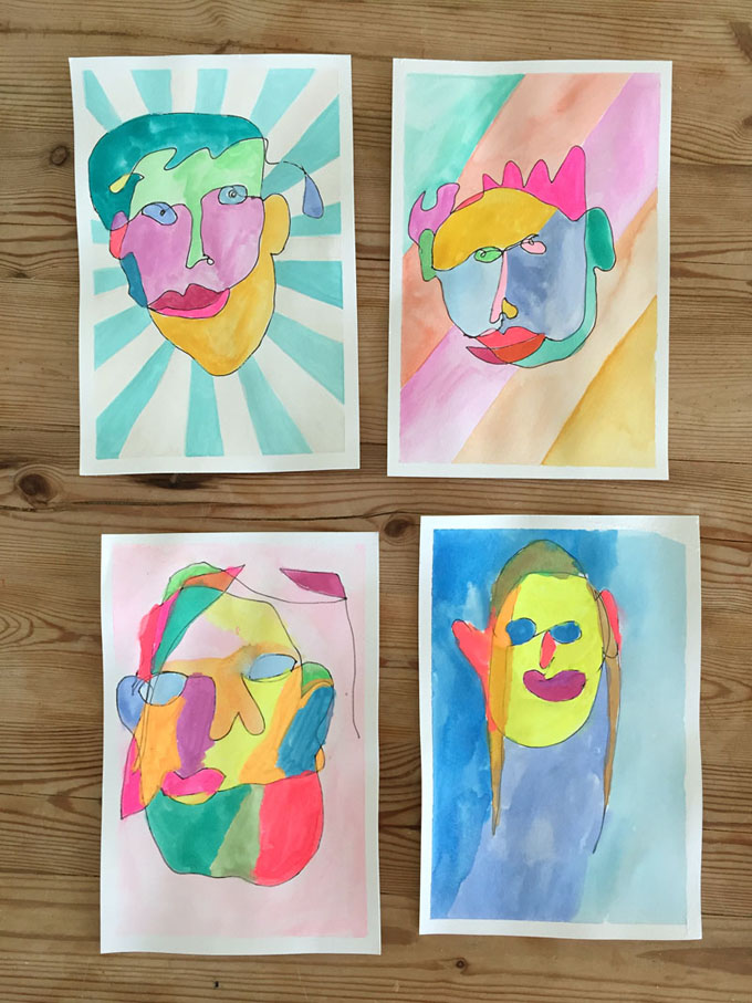 Blind contour drawings with kids.
