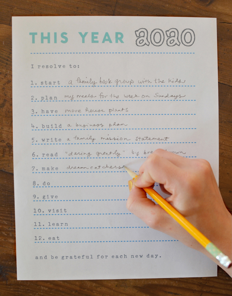 New Year's resolutions printable.