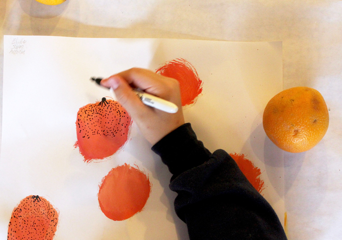 Drawing with kids: Oranges on the table