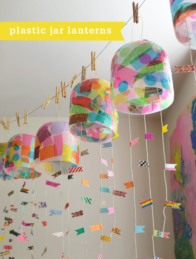 Kids make colorful lanterns from giant mayonnaise jars.