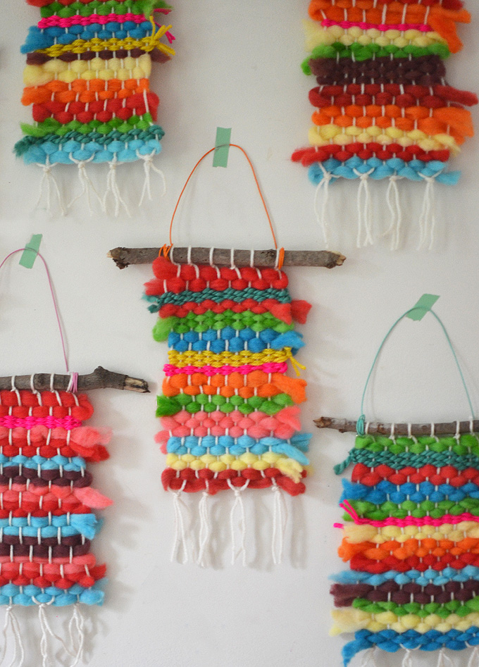 Koolaid-dyed Rainbow Weavings with Kids