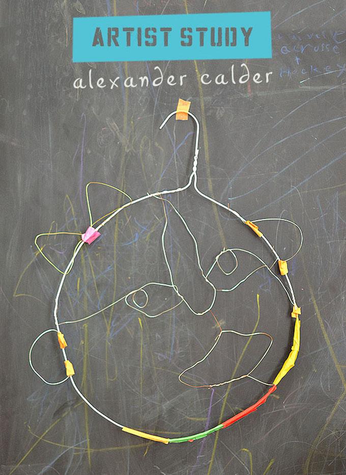 Kids study artist Alexander Calder and make wire faces.