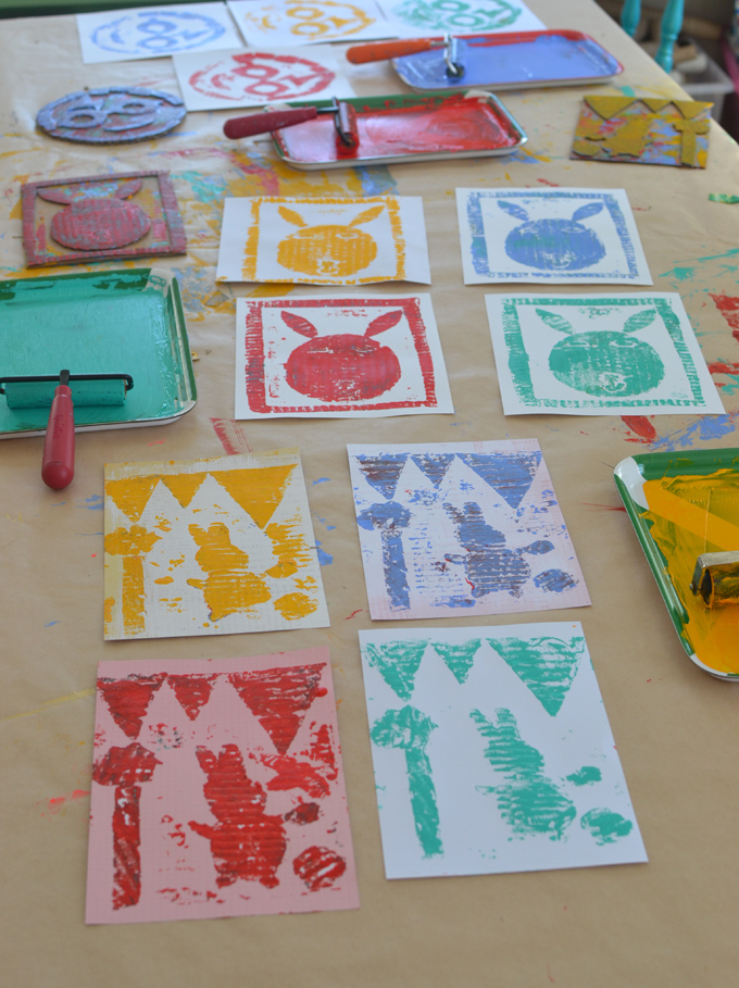 Collagraph printmaking with kids using cardboard.