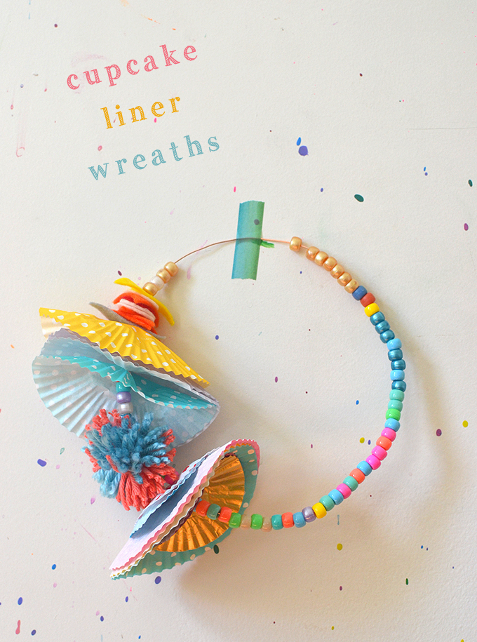 Kids make wreathes from wire, beads, and cupcake liners.