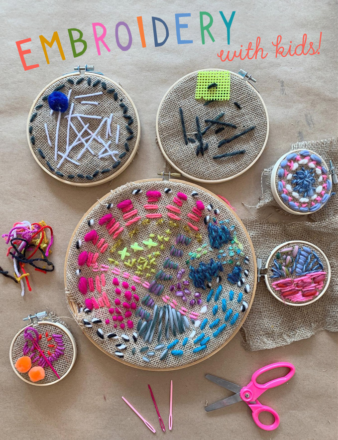 Family friendly and fuzzy embroidery with kids using a an embroidery hoop and yarn.