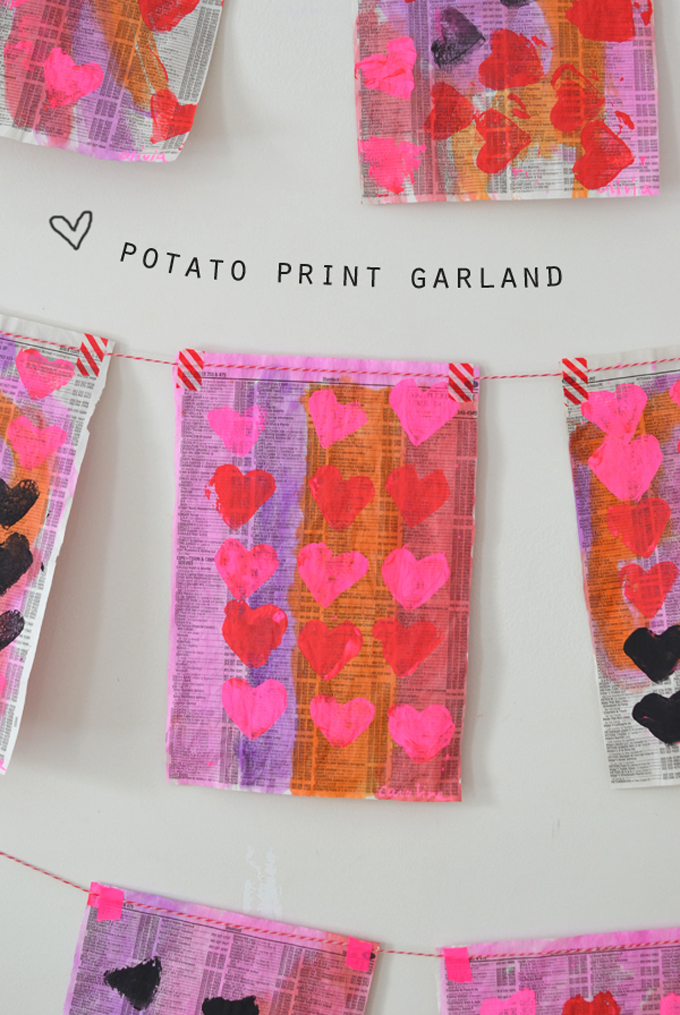 Potato printing with kids, made into a garland.