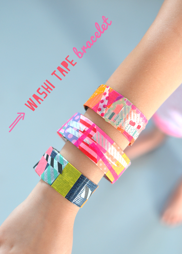 Kids make bracelets from washi tape. A perfect birthday party activity!