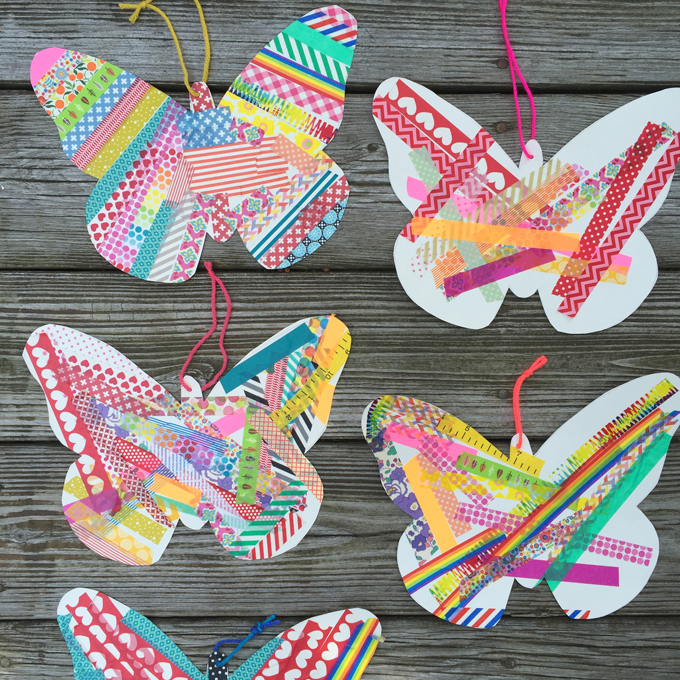 Washi tape and free butterfly templates make a simple crafting invitation. Perfect for birthday parties or a group of kids!