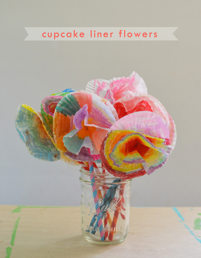 A bouquet of flowers made with cupcake liners and paper straws. A wonderful open-ended art activity for all ages.