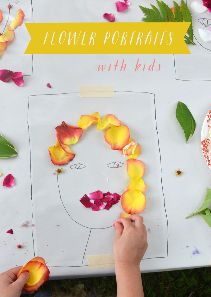 "Justina Blakeney's ""Face the Foliage"" Instagram account inspires kids to make their own portraits from flowers and nature using sticky contact paper."