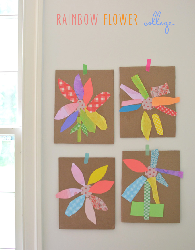 Kids make flower collages from rainbow paper material.