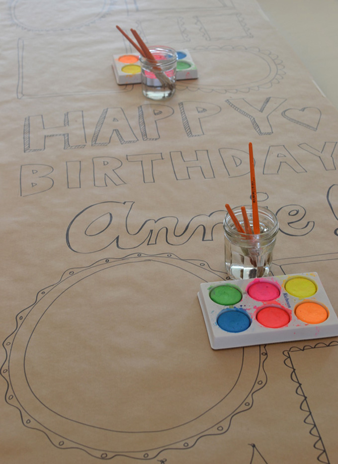 Make a birthday banner for your child for their birthday and have everyone at the party paint it!
