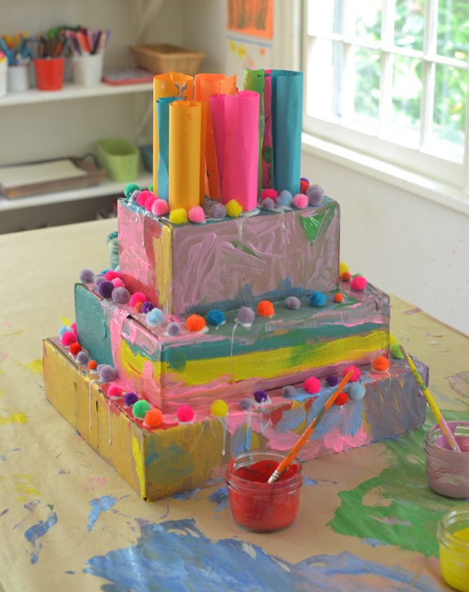 Cardboard cakes are perfect birthday party crafts! From the book Art Workshop for Children, by Barbara Rucci.