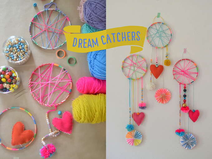 Dreamcatchers made by kids.