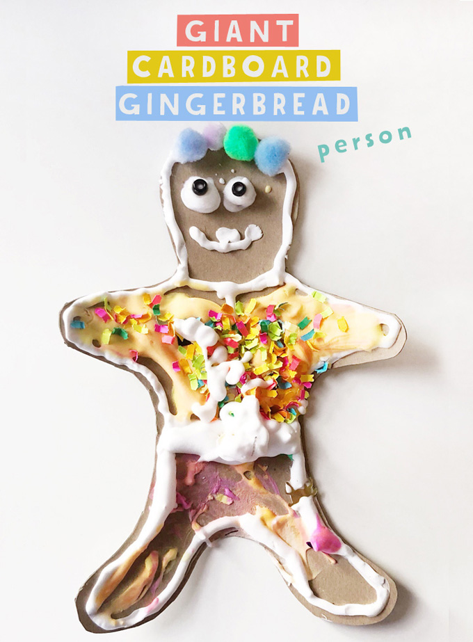 Kids make giant gingerbread people from cardboard and homemade puffy paint.