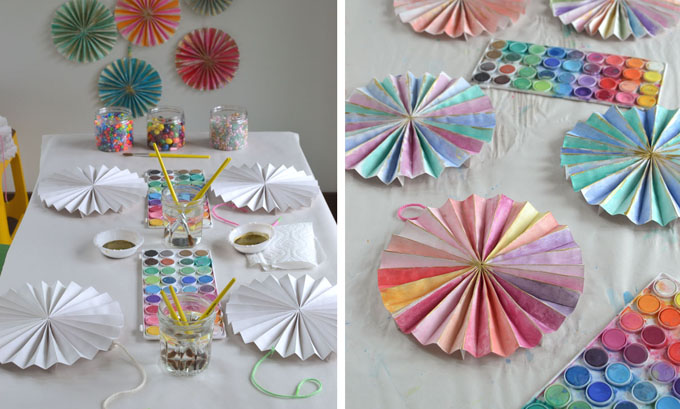 Make paper pinwheels for your child's next birthday party and let the kids paint them with watercolors!