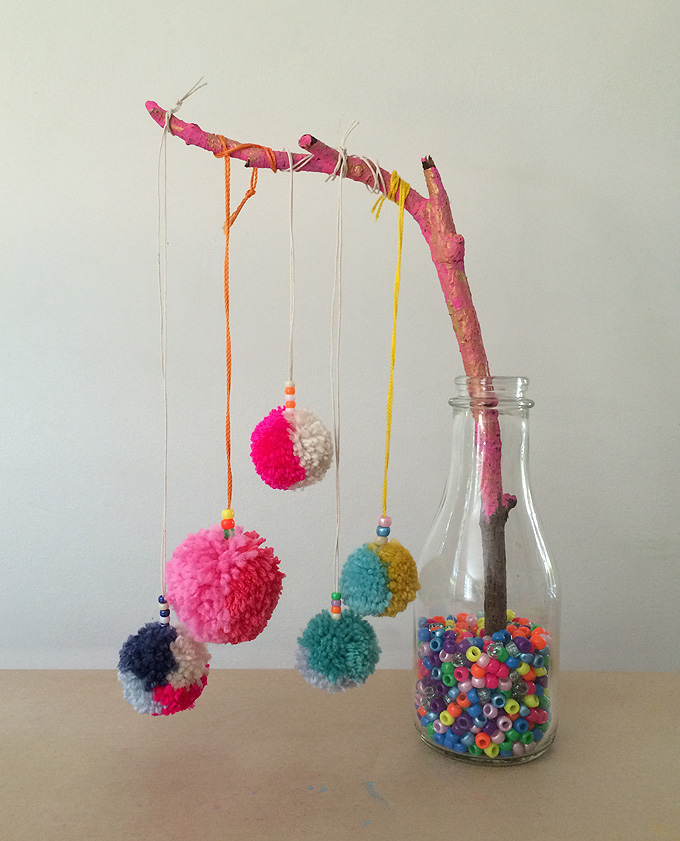 Pom-pom necklaces are a perfect birthday party craft!