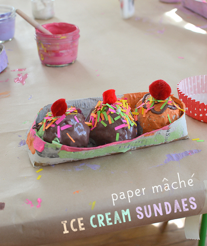 Kids make ice cream sundaes from paper mache.