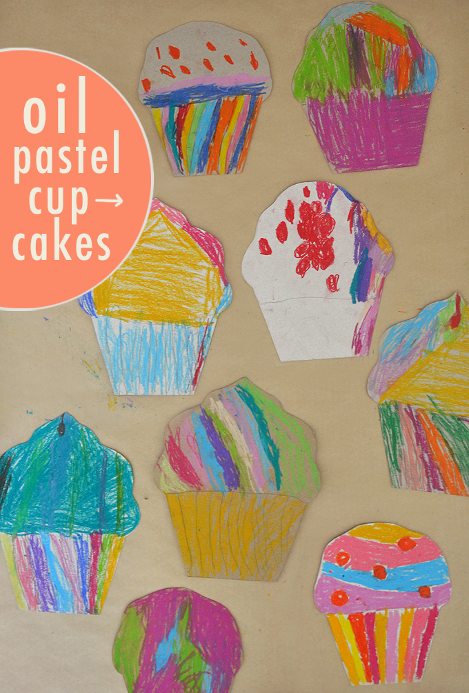 Kids make cardboard cupcakes from cereal boxes with vibrant oil pastels.