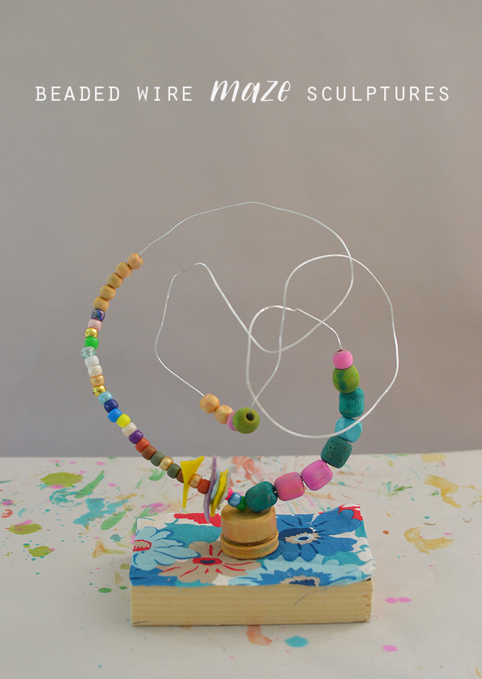 Kids make colorful beaded wire maze sculptures, reminiscent of artist Alexander Calder's work. These also are a wonderful handmade toy.