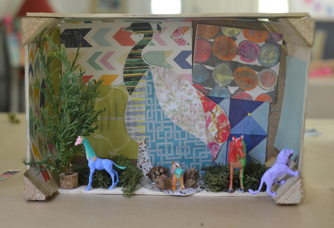 Kids study artist Mano Kellner and make dioramas from collage material, animal figurines, and greenery.
