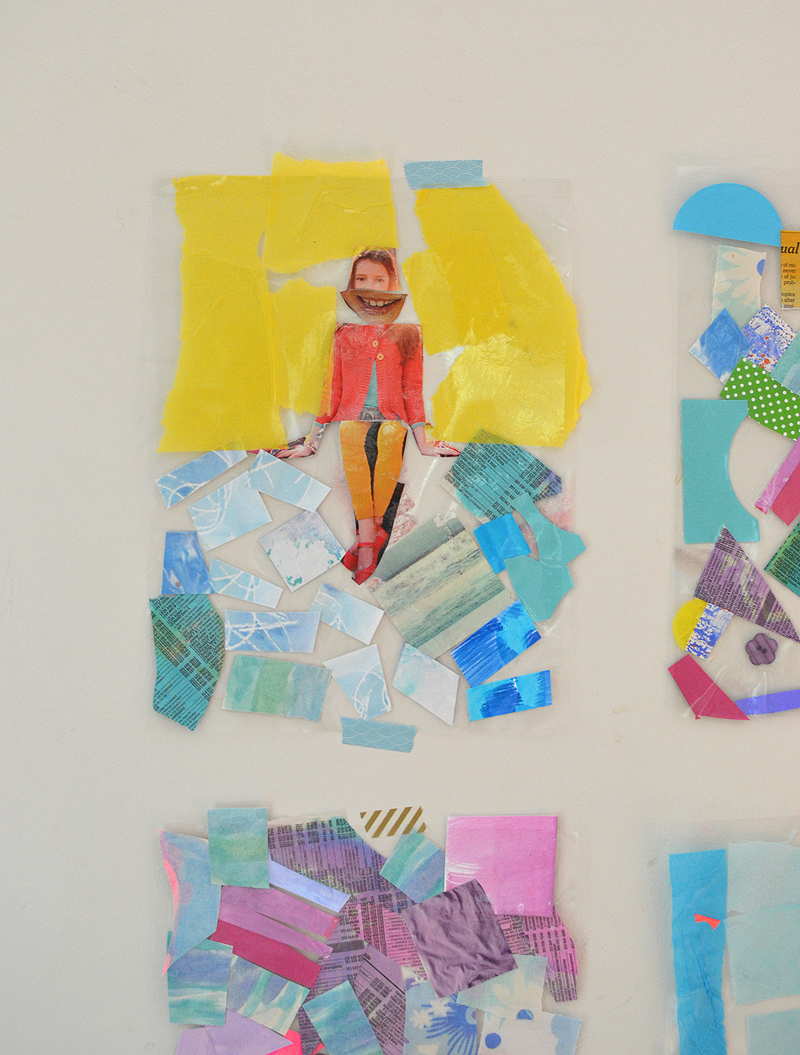 Children stick collage material to contact paper to make colorful and playful wall art.