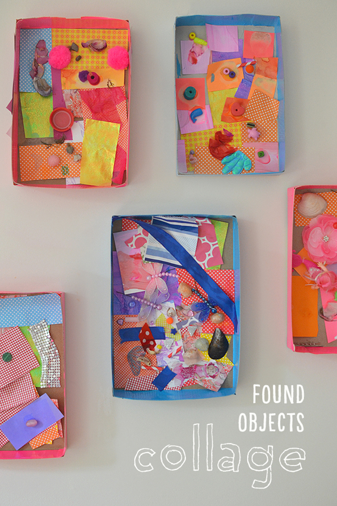 Children use found objects and small things from their homes to make collages inside cereal boxes.