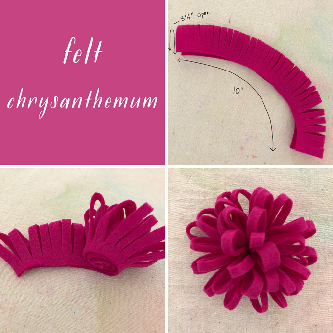 Make felt chrysanthemums for a Frida Kahlo flower crown.