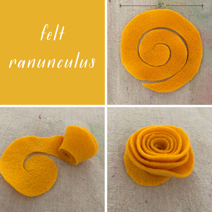 Make felt ranunculus for a Frida Kahlo flower crown.