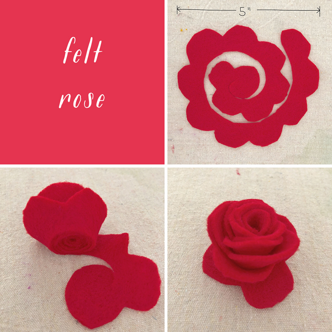 Make felt roses for a Frida Kahlo flower crown.