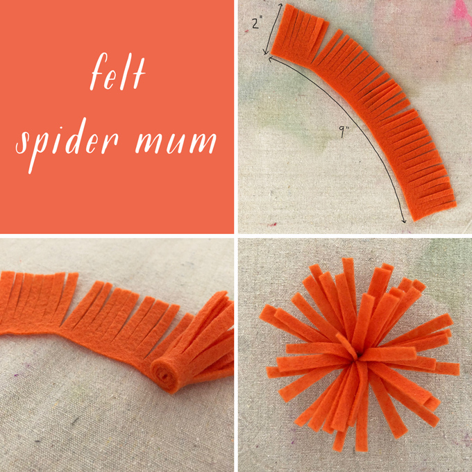 Make felt spider mums for a Frida Kahlo flower crown.