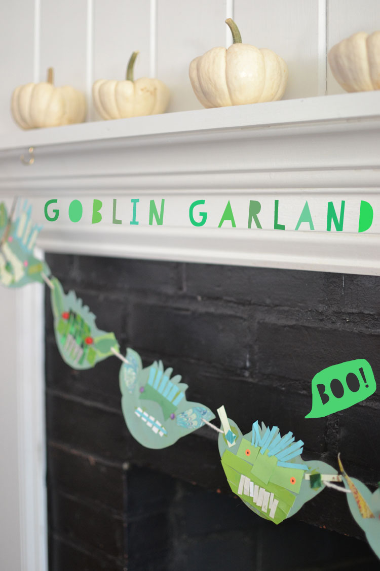Kids make goblin garland with cardboard and collage material for a Halloween decoration.