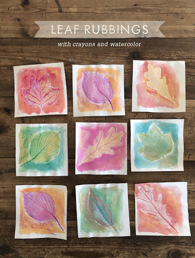 Leaf Rubbings with Crayons and Watercolor