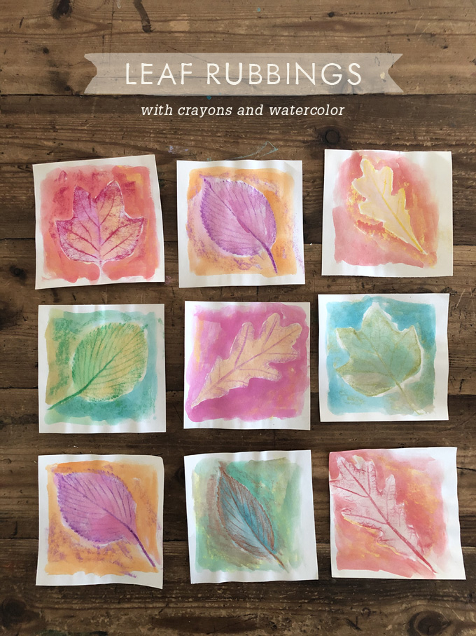 Leaf Rubbings with Crayons and Watercolor - ARTBAR