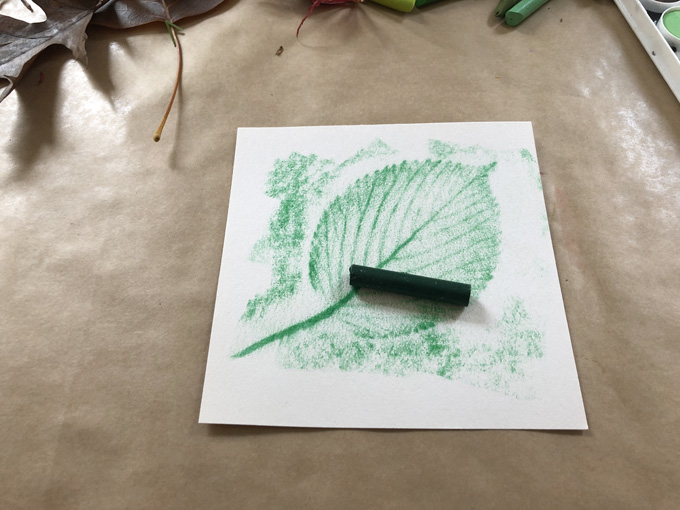 Quick and easy leaf rubbings with crayons and watercolor.