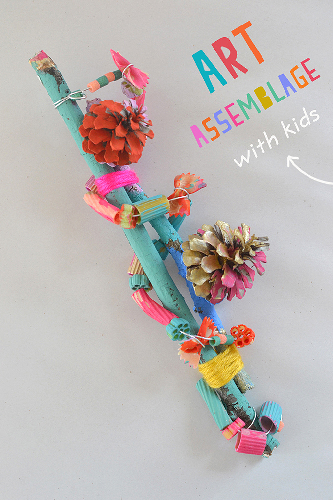 Kids learn the art of assemblage by stringing and wrapping pinecones and pasta around twigs.