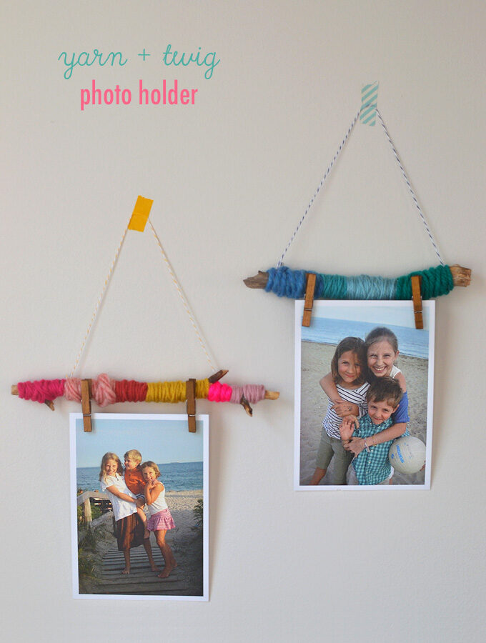 Yarn and Twig Photo Holders