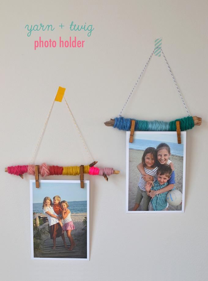 Make easy photo holders to hang on your wall with yarn and twigs.