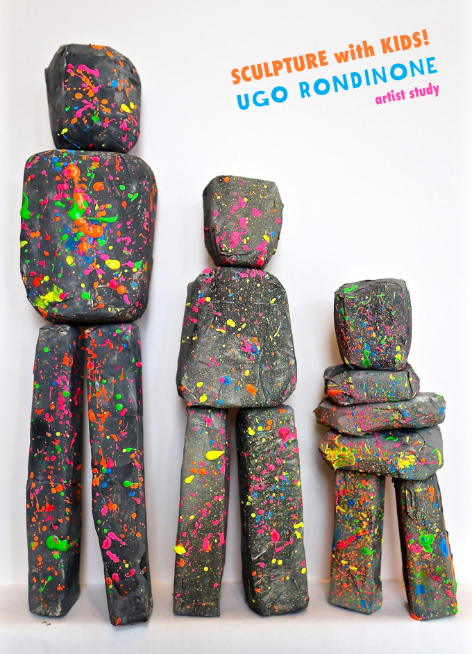Kids study artist Ugo Rondinone and his Human Nature sculptures, making their own stacked sculptures using floral foam, paper mâché, and magnets.